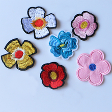 1 PCS Rose Cherry blossoms Embroidered Iron on Patches for Clothing DIY Stripes Clothes Patchwork Sticker Custom Flowers Badges