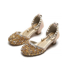 Kids Princess Shoes for Girls Mary Jane Sandals Low Heel Sparkle Rhinestone Dance Shoes 2020 Children Girl Party Dress Shoes