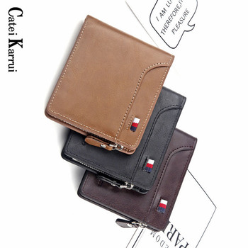 Catei Karrui Cow Leather Slim Wallets Mini Wallets Magic Card Holder Men Wallets Money Bag Male Vintage Black Short Purse Small short men wallets 100