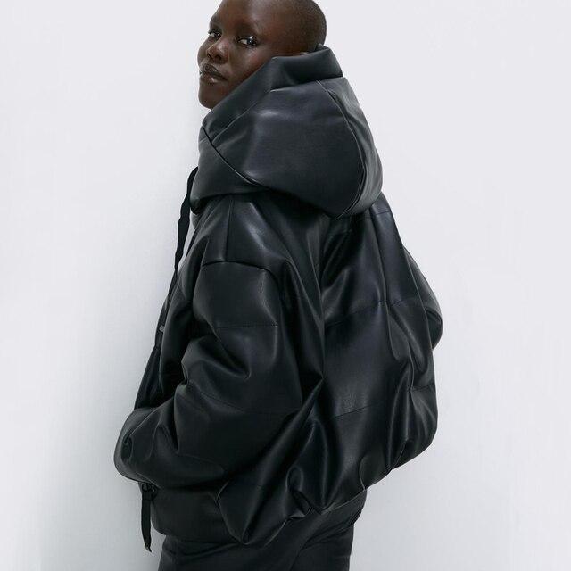 Fandy Lokar Zipper Short Parkas Women Fashion Pockets PU Leather Coats Women Elegant Winter Hooded Cotton Jackets Female Ladies 2