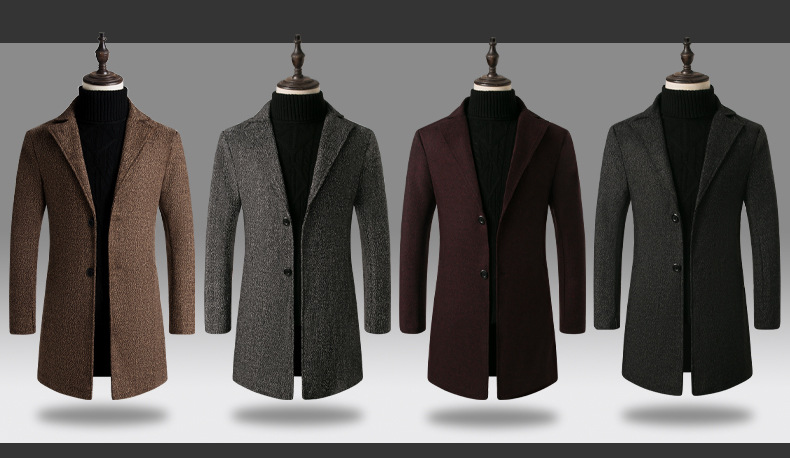 2019 Men Wool Blends Coats Autumn Winter New Solid Color High Quality Men's Wool Trench Coats Luxurious Wool Blends Coat Male