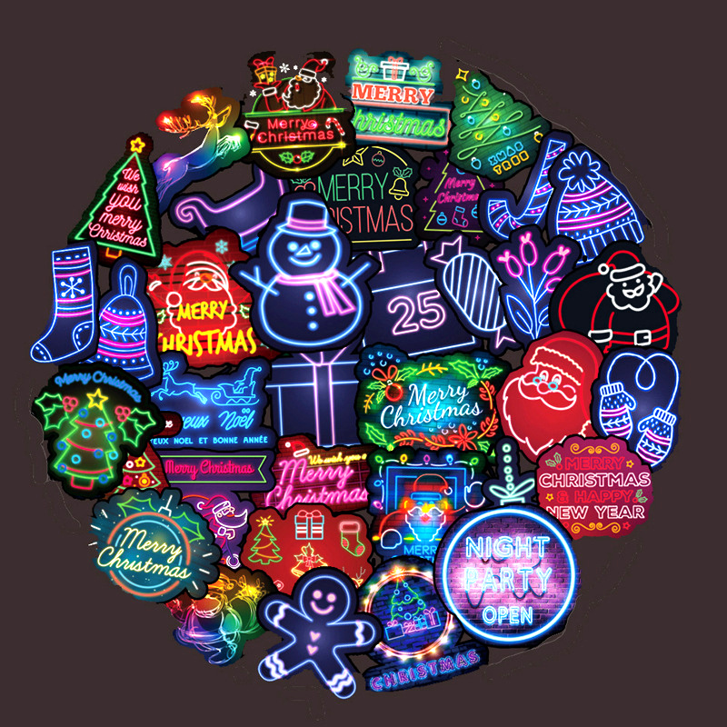 50 PCS PVC Christmas Neon Stickers Do Not Repeat Santa Graffiti Stickers Car Computer Trunk Guitar Stickers