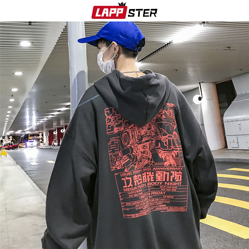 LAPPSTER Men Japanese Streetwear Hooded Hoodies 2019 Harajuku Fall Skateball Fashions Cartoon Sweatshirts Hip Hop Black Hoodies