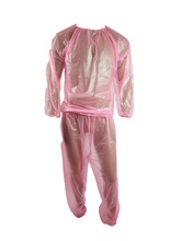 Haian PVC koşu elbisesi Sauna takım elbise renk şeffaf pembe P013 5