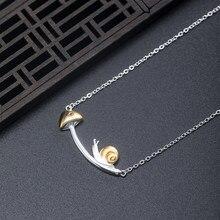 Vla 2021 novo 925 prata design criativo caracol cogumelo colar temperamento feminino adorável doce jóias