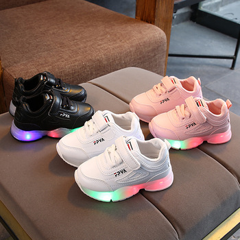 2021 Hook*Loop Soft kids shoes Spring/Autumn LED lighted baby boys girls shoes shinning sports infant tennis children sneakers 2020 hot sales fashion baby casual shoes led lighted sneakers baby classic soft high quality baby girls boys infant tennis