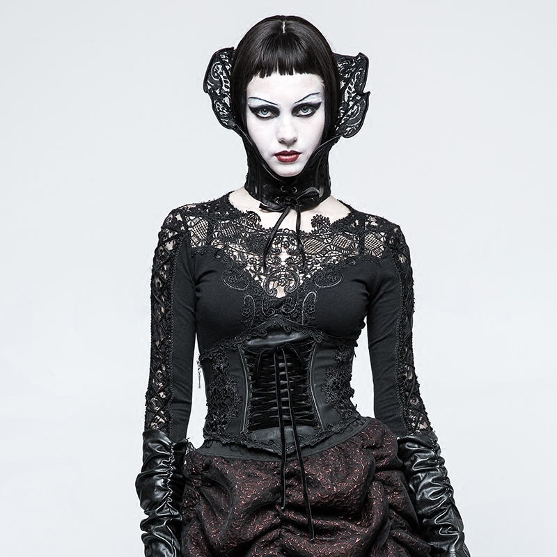 PUNK RAVE Gothic Harness Brocade Draw String Women Leather Corset Lolita Embroidery Bandage Stage Performance Black Sexy Belt