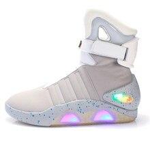 Bottes rechargeables USB Led pour hommes et femmes, chaussures décontractées à la mode, retour vers le futur, bottes brillantes du désert, 2021
