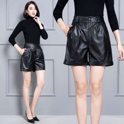 2020 Women New Real Genuine Sheep Leather Shorts KS57