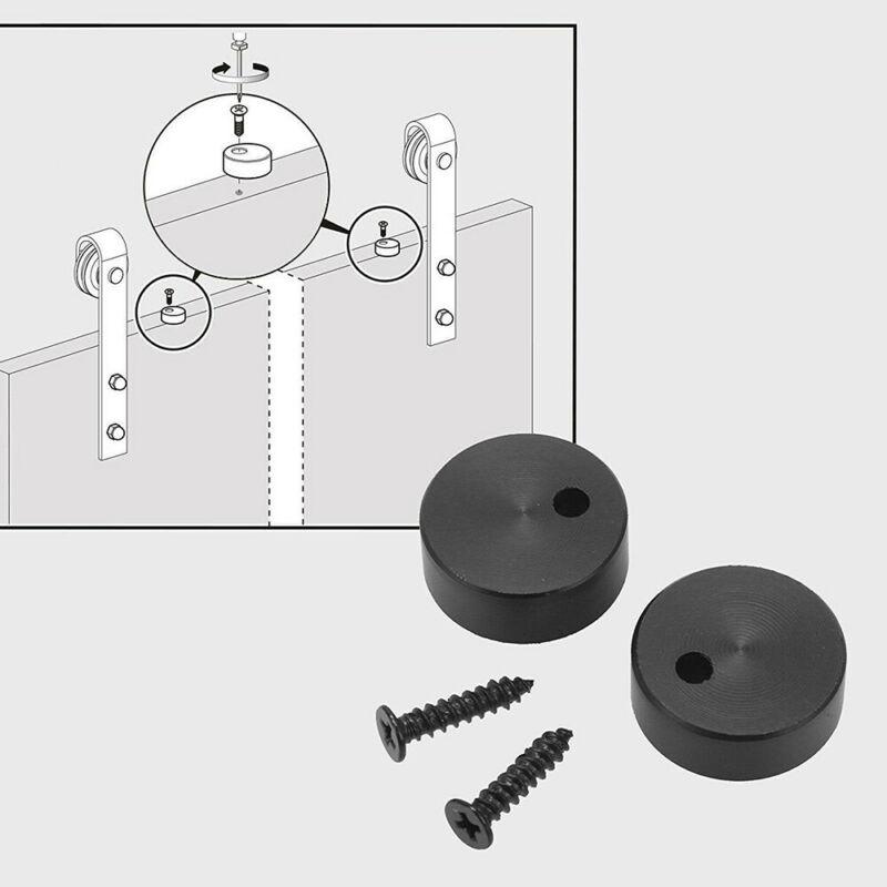 Acier coulissant grange bois porte matériel rouleaux 2 pièces noir I forme cintre