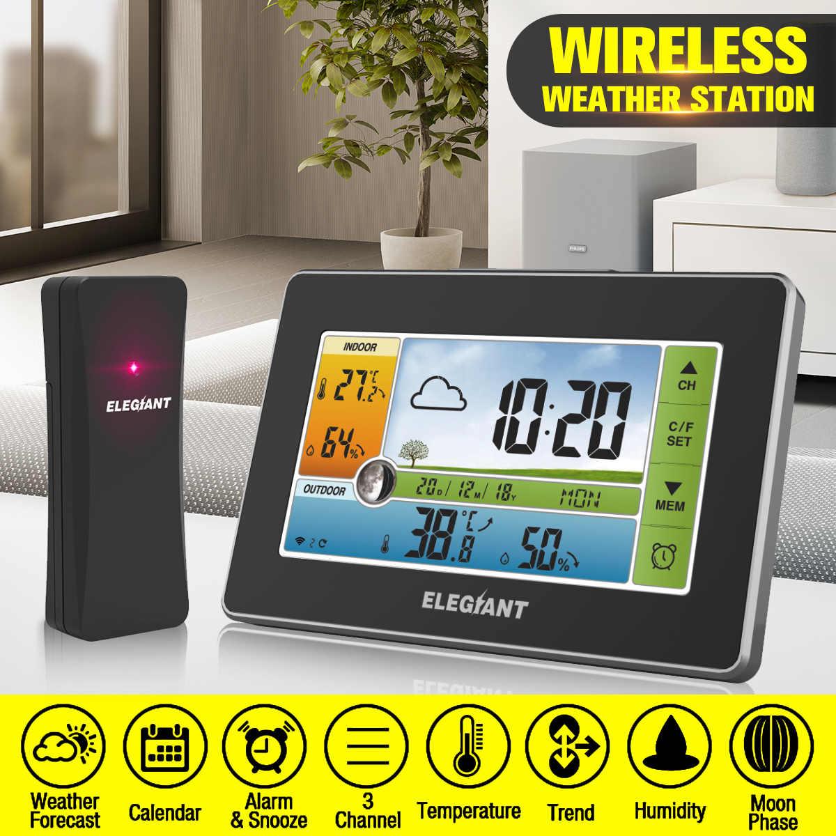 ELEGIANT LCD Digital Touch Wetter Station & Outdoor Sensor Thermometer Hygrometer Feuchtigkeit Temperatur Instrumente 3CH