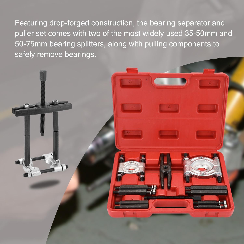 12pcs Bearing Separator Set Bearing Removal Tool Set Bar-Type Splitter Gear Puller Fly Wheel Tool Kit 35-50mm 50-75mm Tool Kit