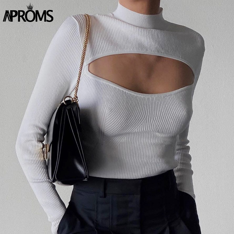 Aproms Elegant Solid Color Cut-Out Soft Knitted Sweater Women 2021 Winter High Neck Long Sleeve Stretch Basic Top Female Jumpers