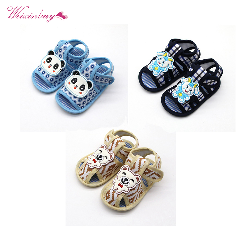 Newborn Cartoon Baby Boy Girl Shoes Flat Cotton Comfortable Summer Soft Sole Outdoor First Walkers 0-18M Shoes