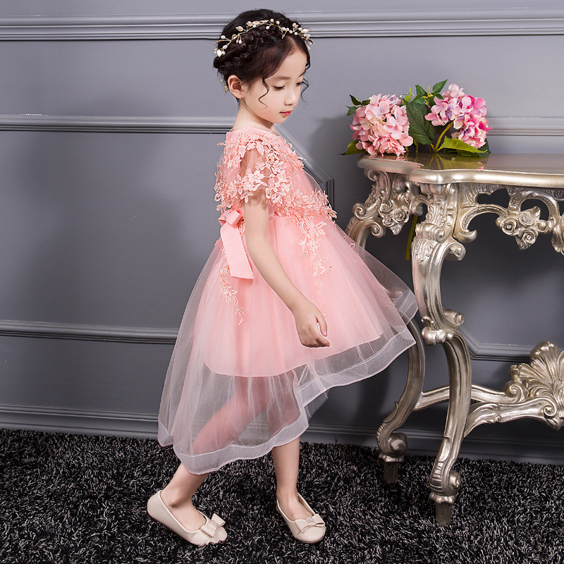 Girl'S Gown Shawl Wedding Dress Princess Dress Late Formal Dress Tailing Costume Handmade Beaded Dress 4-Color Selectable