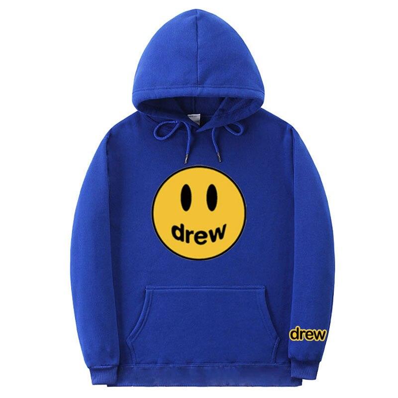 Fashion Hoodie Men Justin Bieber The Drew House Smile Face Print Autumn And Winter Men Women Hip Hop Pullover Hoodies Sweatshirt