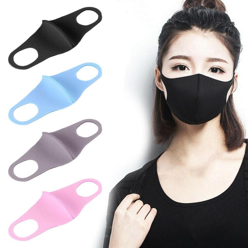 1pc Winter Breathing Mask Anti-dust Earloop Face Cover Outdoor Riding Masks Unisex Soft Cotton Sponge Black Mask