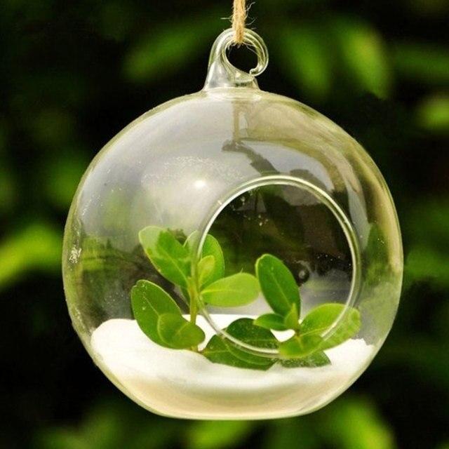 10pcs Clear Decor Ball Globe Shape Transparent Hanging Glass Vase Flower Plants Home Garden Shows 5