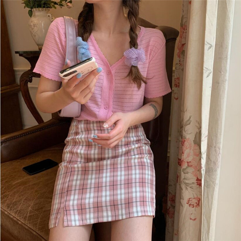 Korean Colored Plaid Skirt Women 2020 Student Chic Short Skirts Fashion Sexy Mini Skirts Spring Summer Female Skirts Plaid