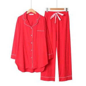 Image 3 - 2020 frühling Und Herbst Neue Frauen Einfarbig Einfache Stil Pyjamas Set Damen Komfort Baumwolle Große Größe Lose Homewear Für femme