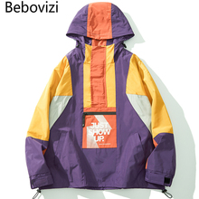 Bebovizi Oversized Color Block Patchwork Pocket Coat Hoodie Half Zipper Windbreaker Jackets Hip Hop Streetwear Clothes недорого