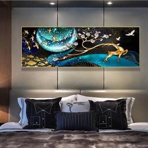 Image 2 - QIANZEHUI, bordado de diamantes, ciervo de diamante redondo en la Luna Diamante de imitación completo pintura de diamantes punto de cruz, costura