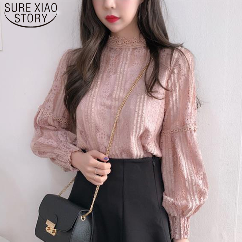 Blusas Mujer De Moda 2020  Ladies Long Sleeve Lace Blouse Shirts  Women Tops Spliced Solid Stand Vintage Pink Clothes  6899 50