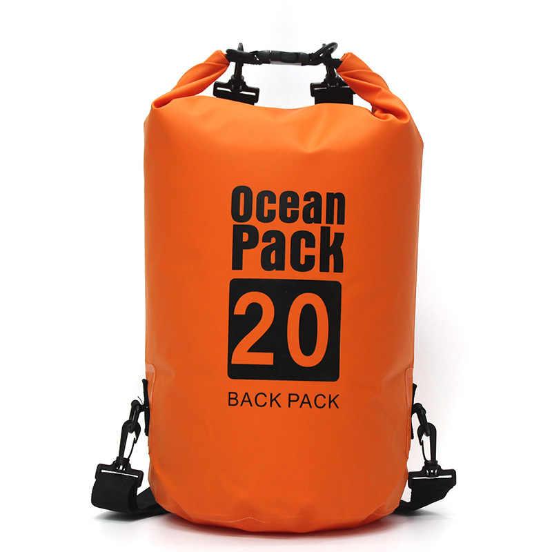 PVC su geçirmez kuru çanta 5L 10L 20L 30L açık dalış katlanabilir depolama adam kadın plaj yüzme kiti Rafting nehir okyanus sırt çantası
