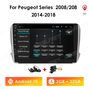 Android 10 RAM 2GB 32GB ROM Car GPS Navigation Multimedia Player For Peugeot Series 2008 208 2014-2018 Auto Radio GPS Navigation image