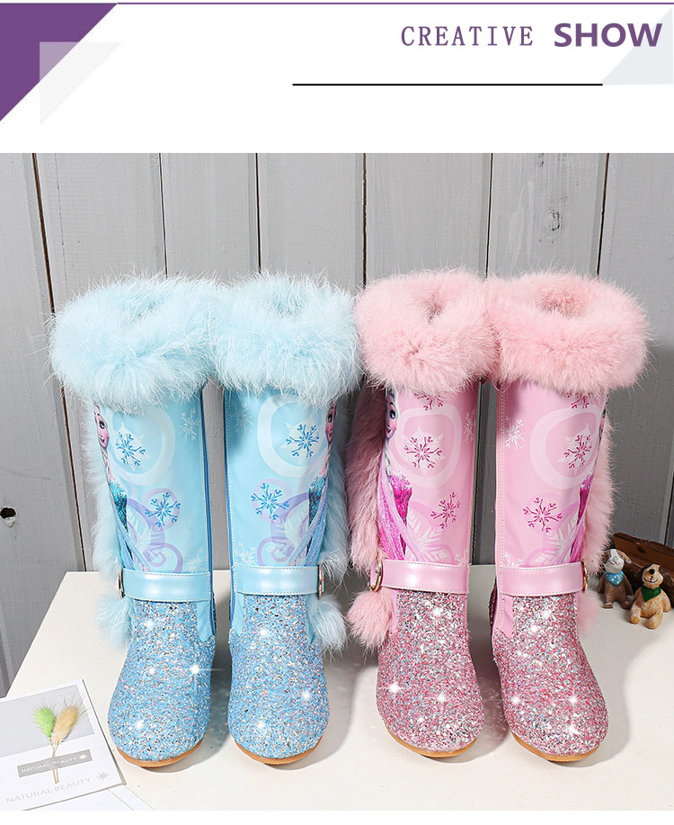 He5699756e7bf45d4af9e22b23efcd0a2P - Elsa princess kids high boots new winter girls boots Brand Children's over the knee boots for girls snow shoes pink blue