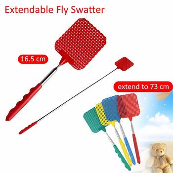 1 sztuk ze stali nierdzewnej teleskopowe plastikowe Fly Swatter zabójca much Kill Mosquito insektycyd narzędzie kolor losowe czyszczenie gospodarstwa domowego tanie i dobre opinie Prostokątne YP80573 Color Random Stainless steel + plastic 28cm x 11 5cm x 8 5cm 11 73 5cm 28 9