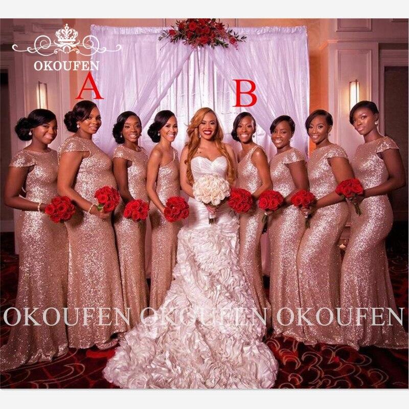 Rose Gold Sequined Mermaid Bridesmaid Dresses With Capped Sleeves Women Long Wedding Guest Dress Robe Demoiselle D'honneur