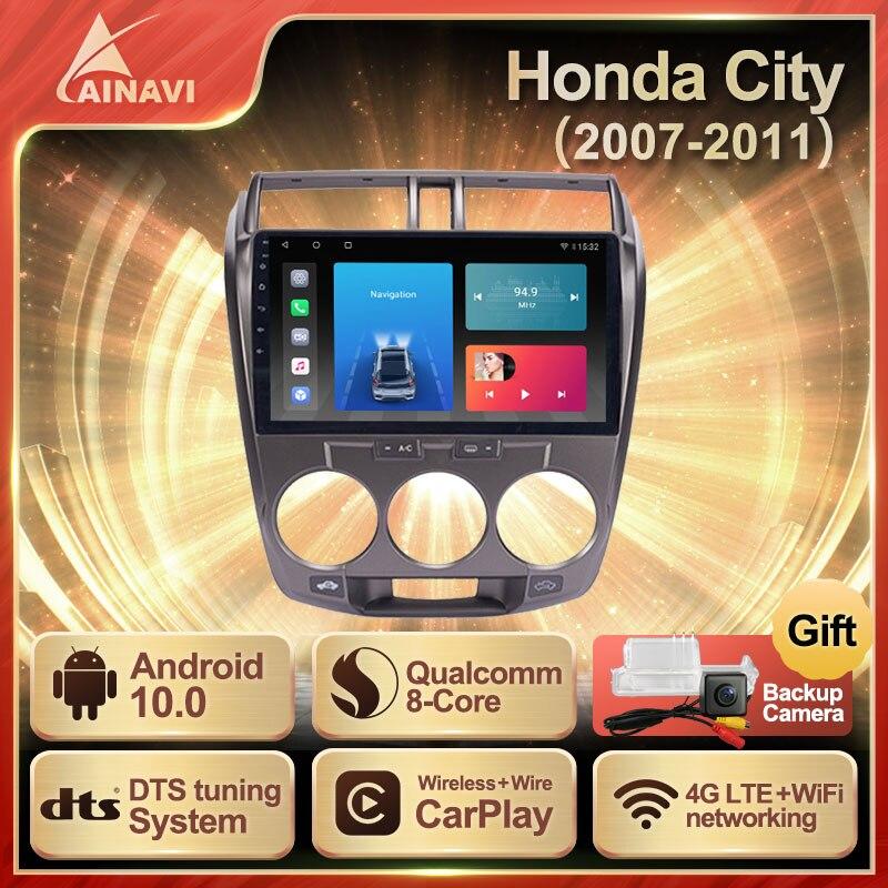 Автомагнитола Android 10,0 QLED экран для Honda City 2007-2011 авто стерео Мультимедийный видеоплеер навигация Carplay No 2din