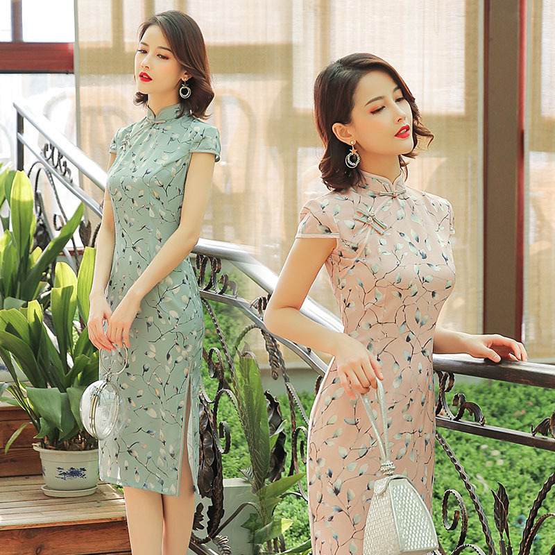 Sheng Coco Silk Cheongsam Dresses Satin Woman Traditional Chinese Dress Long Cheongsam Pink Elegant Qipao Pretty Evening Dress