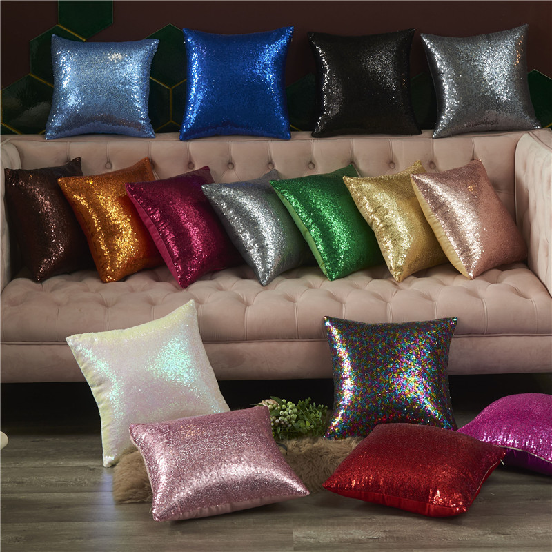 Glitter Mermaid Sequins Pillow Case Luxury Sofa Cushion Cover Decorative Cushions  40*40 Sliver Pink Gold Pillow Cover 10023