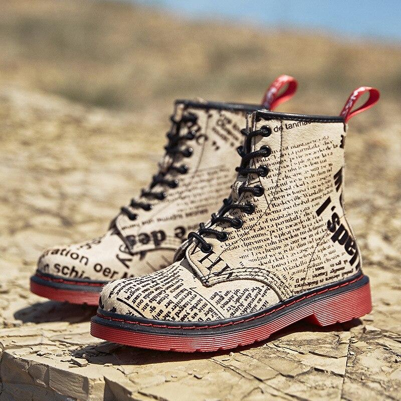 Impression lettre femmes chaussures en cuir véritable bottes d'hiver femme décontracté printemps militaire désert Botas Mujer femme bottines