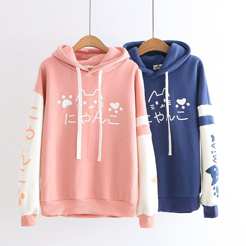2019 Fall Winter Women Japanese Long Sleeve Patch Velvet Hoodies Solid Harajuku Cute Cartoon Cat Hooded Sweatshirts