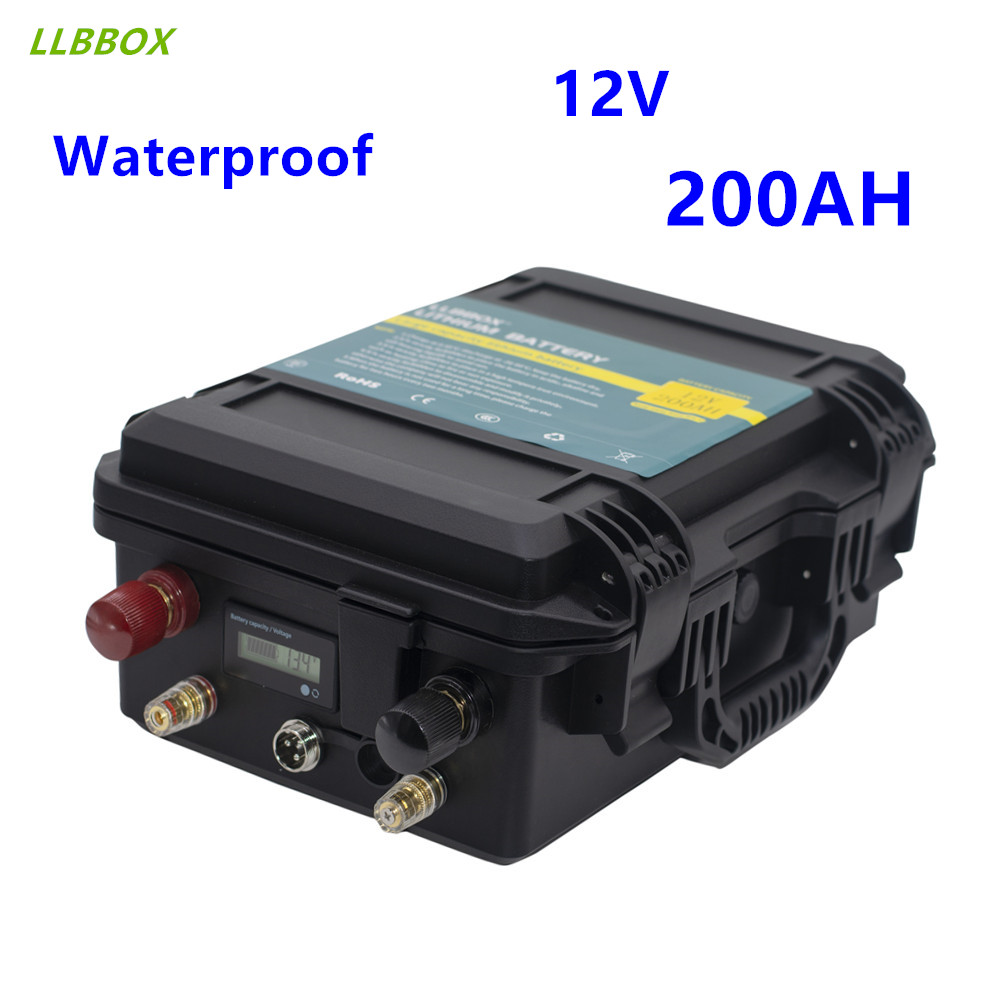 <font><b>12V</b></font> <font><b>200AH</b></font> lithium <font><b>battery</b></font> pack waterproof <font><b>12V</b></font> lithium <font><b>battery</b></font> pack with 20A <font><b>charger</b></font> for boat motor, inverter,RV,etc image