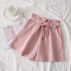 لطيفة الصيف النساء حزام واسعة الساق السراويل الكورية عالية الخصر القوس السراويل فضفاضة الدانتيل يصل الصلبة Shorts غير رسمية
