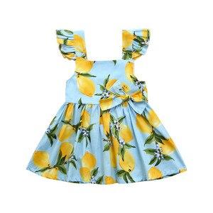 Детский хлопковый сарафан для маленьких девочек; Одежда с принтом лимона; Модное Повседневное платье принцессы без рукавов; ROMIRUS 2020