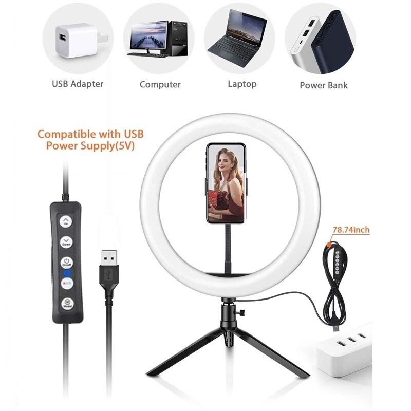 Tongdaytech Dimbare Rgb Led Selfie Ring Vullen Licht Foto Ring Lamp Met Statief Voor Make Video Live Aro De Luz para Celular 4