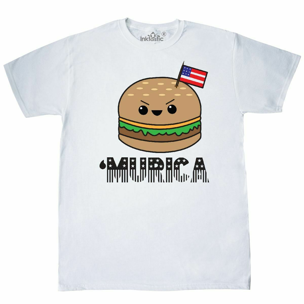 Inktastic 'Murica Burger T-Shirt America Merica Kawaii Tokyo Japan Mens Adult Top Quality 2019 New Brand Men'S image