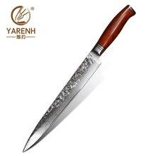 Yarenh 10 インチプロサーモン寿司ナイフ 73 層日本ダマスカス鋼包丁シェフナイフツルサイカチ属木製ハンドル