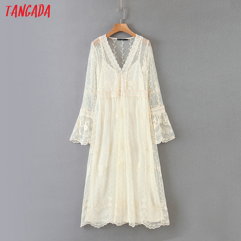 Tangada Fashion Women Elegant White Embroidery Lace Dress 2 Piece Long Sleeve Ladies Solid Midi Dress Vestidos HY50