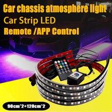 Rgb carro conduziu a luz de tira atmosfera lâmpada controle remoto app bulbos à prova dwaterproof água chassis flexível underbody luzes néon acessórios