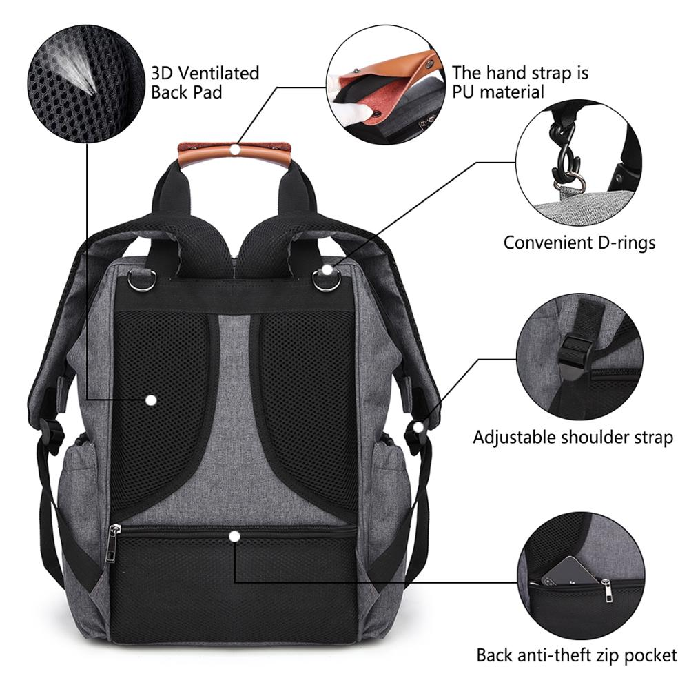 Fashion Mummy Maternity Bag Multi function Diaper Bag Backpack Nappy Baby Bag with Stroller Straps for Baby Care Waterproof