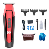 Electric Hair Clipper USB Rechargeable Oil Head Electric Clippers Engraving Hair Clipper Men's Razor Children Hair Clipper(Red)