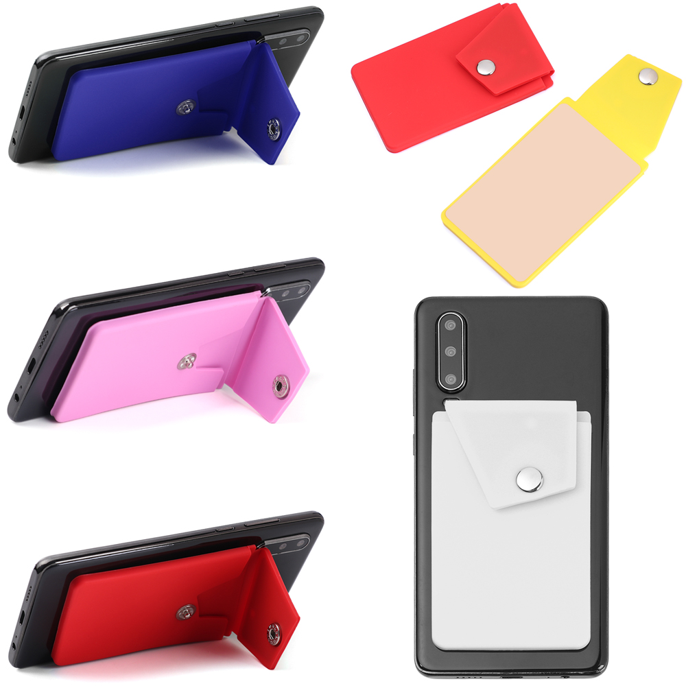 1PC Adhesive Silicone Phone Wallet With Snap Pocket Phone Back Stick-on Elastic Credit Card Holder With Stand For Smart Phone