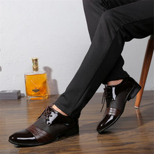 Men Shoes Casual Oxford Lace-up Flats PU Leather Zapatos Hombre Pointed Mens Dress leather Breathable Wedding