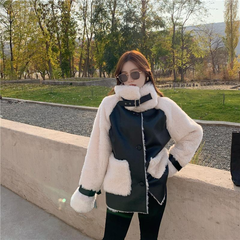 He56aa1fd697c4638b09ed95922bdc751u Winter Women High Quality Fur Coat Loose Collar Design Integrated Long Splicing Single-breasted Cotton-padded Pocket Jackets